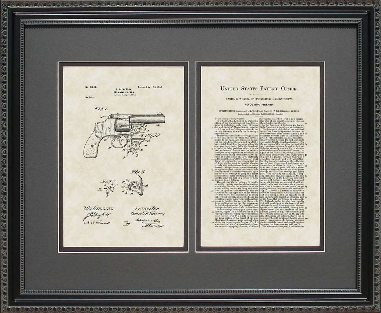 Revolver Patent, Art & Copy, Wesson, 1898, 16x20