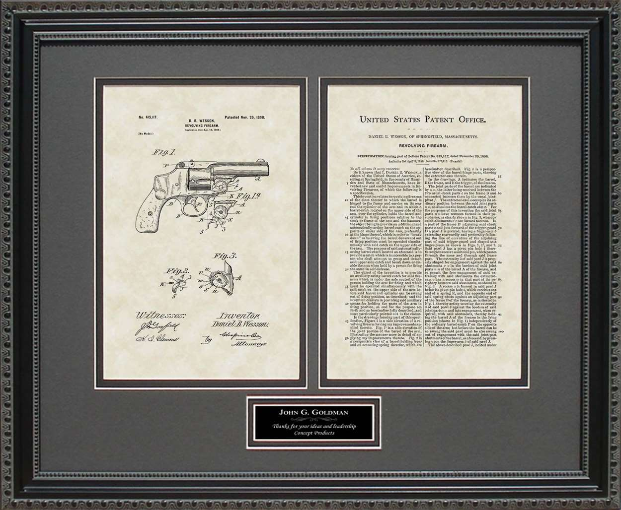 Personalized Revolver Patent, Art & Copy, Wesson, 1898