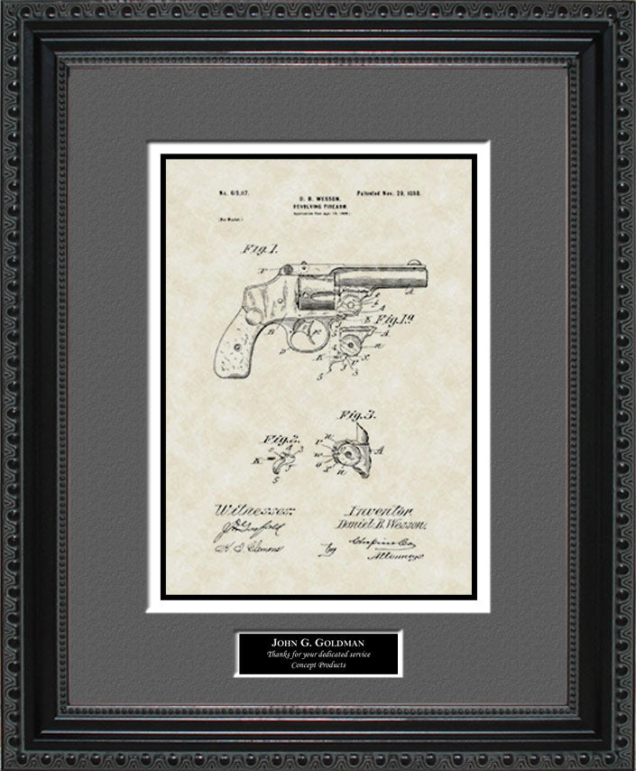 Personalized Revolver Patent Art, Wesson, 1898