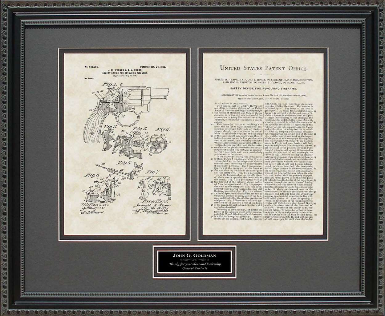 Personalized Early Smith & Wesson Patent, Art & Copy, Wesson, 1899