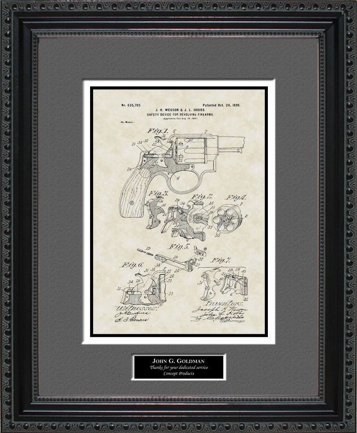 Personalized Early Smith & Wesson Patent Art, Wesson, 1899