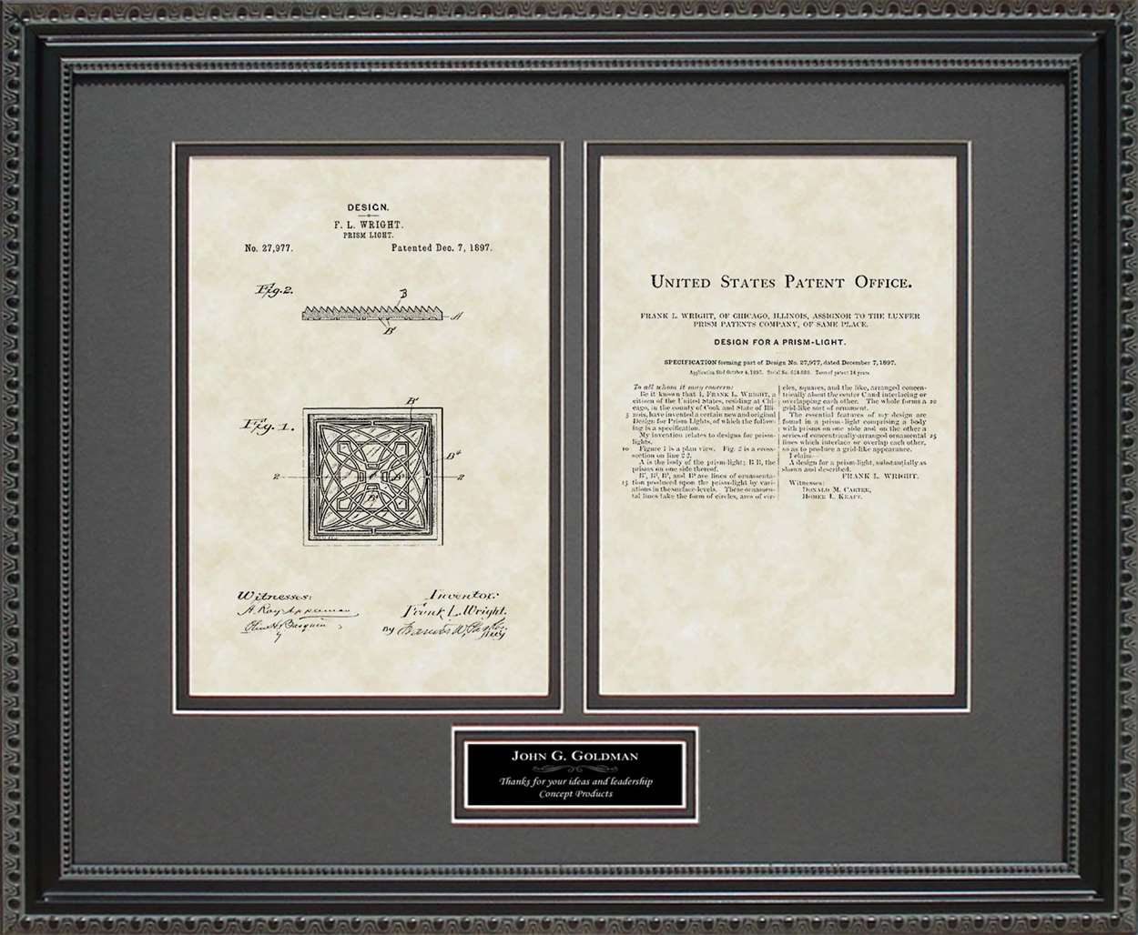 Personalized Prism Light Patent, Art & Copy, Frank Lloyd Wright, 1897