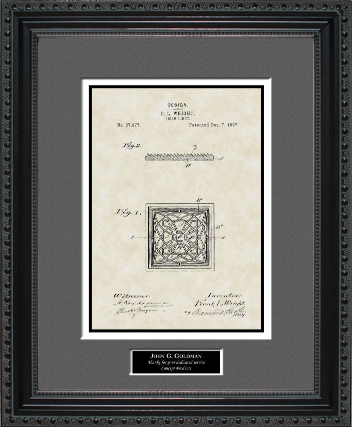 Personalized Prism Light Patent Art, Frank Lloyd Wright, 1897