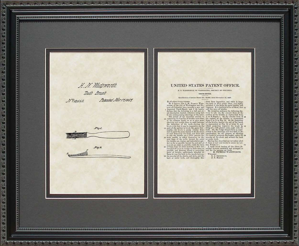Toothbrush Patent, Art & Copy, Wadsworth, 1857, 16x20