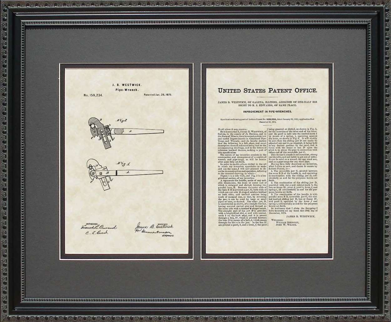 Pipe Wrench Patent, Art & Copy, Westwick, 1875, 16x20