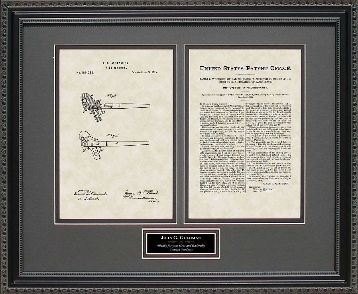 Personalized Pipe Wrench Patent, Art & Copy, Westwick, 1875