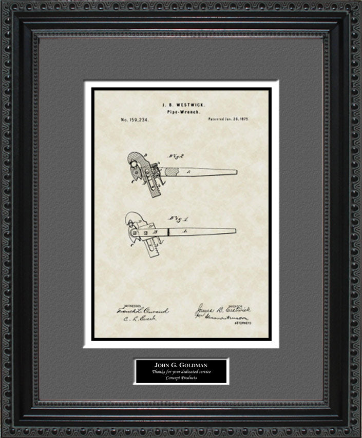 Personalized Pipe Wrench Patent Art, Westwick, 1875