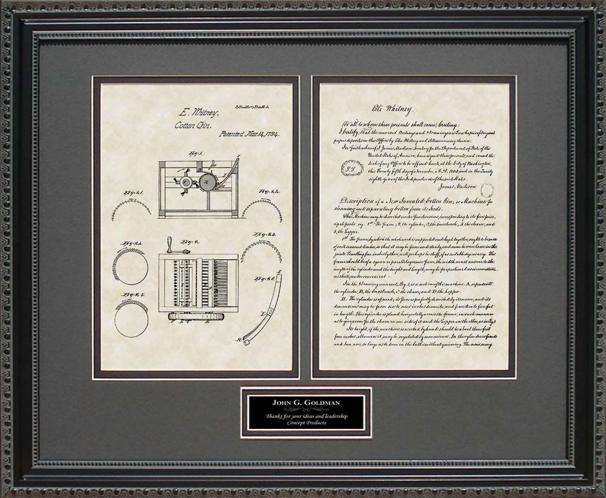 Personalized Cotton Gin Patent, Art & Copy, Whitney, 1794