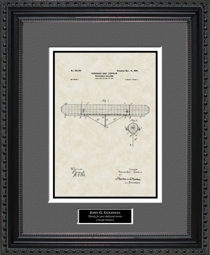 Personalized Lighter-than-Air-Craft Patent Art, Zeppelin, 1899