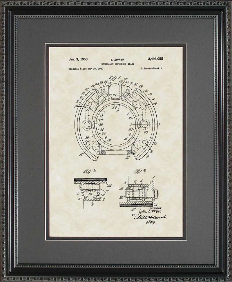 Drum Brakes Patent Art, Zipper, 1950
