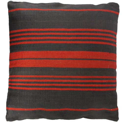 FLOOR CUSHION | toubkal 90 x 90 cm | Stripes Grey/Red | - bakker made with love