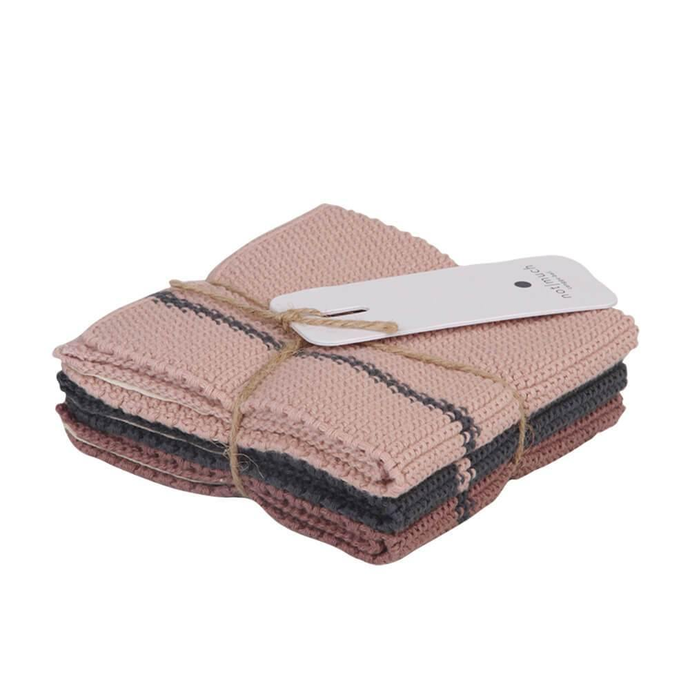 KNITTED KITCHEN TOWELS | set of 3 - Pinkish | - bakker made with love