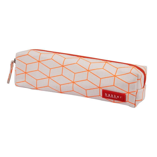 PENCIL CASE | canvas fluo outlines - orange | - bakker made with love
