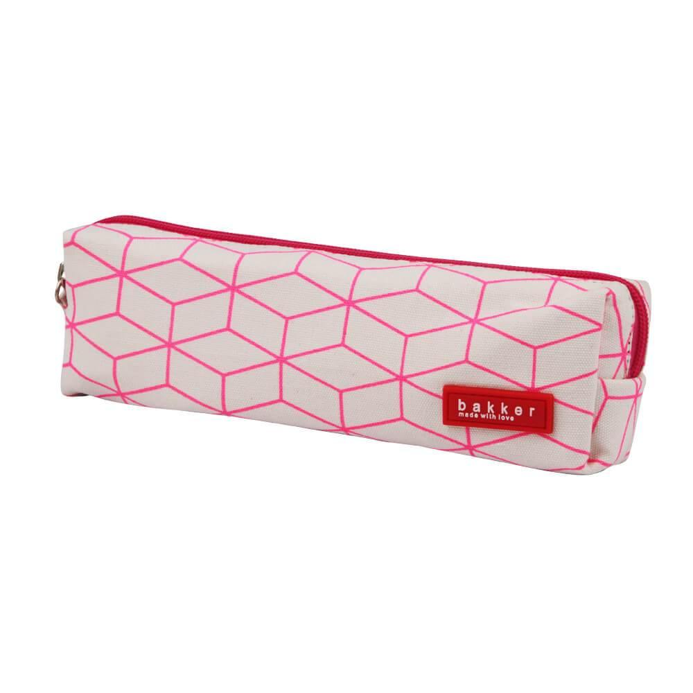 PENCIL CASE | canvas fluo outlines - pink | - bakker made with love