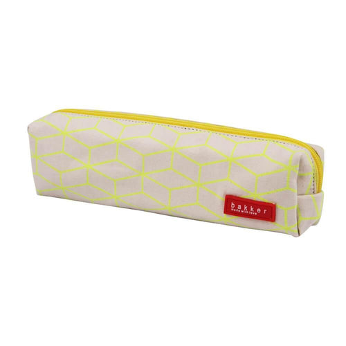 PENCIL CASE | canvas fluo outlines - yellow | - bakker made with love