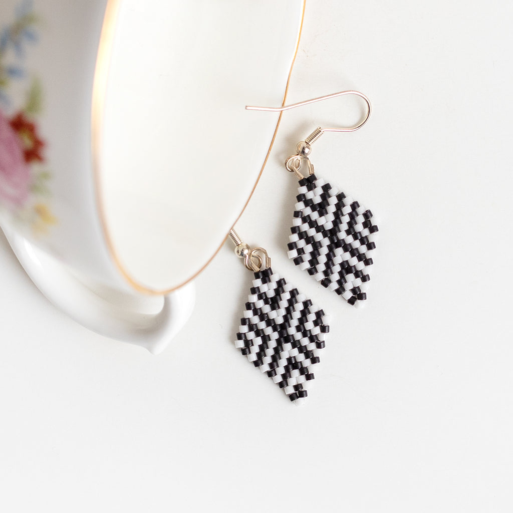 Criss Cross - Black and White Diamond Drop Earrings
