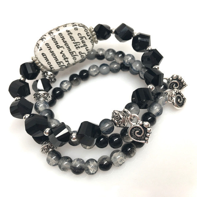 """Love Story"" Stretch Bracelet Set"