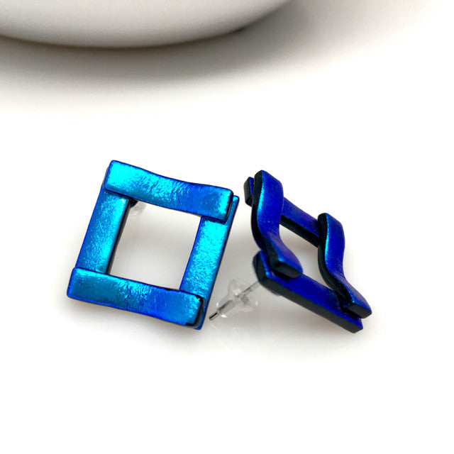 """Squared Up"" Dichroic Glass Earrings"