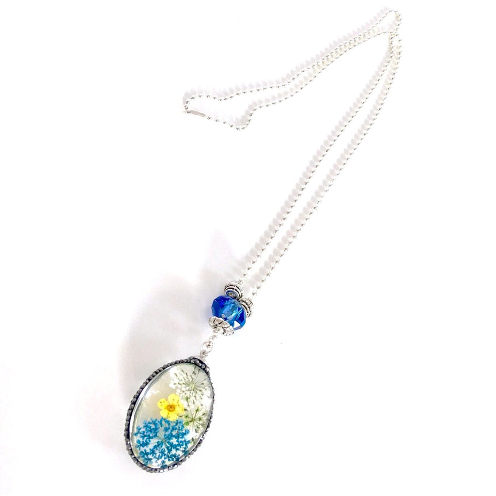 """Lost  Garden"" Pendant Necklace (Blue)"