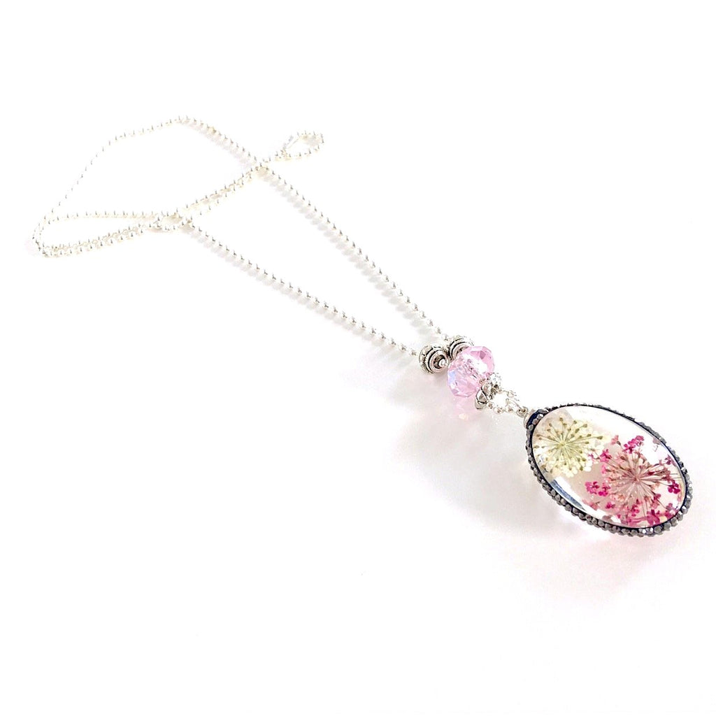 """Lost  Garden"" Pendant Necklace (Pink)"