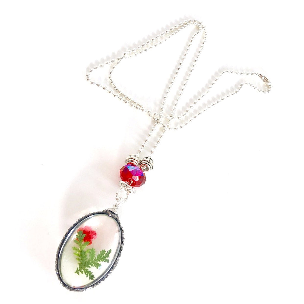 """Lost  Garden"" Pendant Necklace (Red)"
