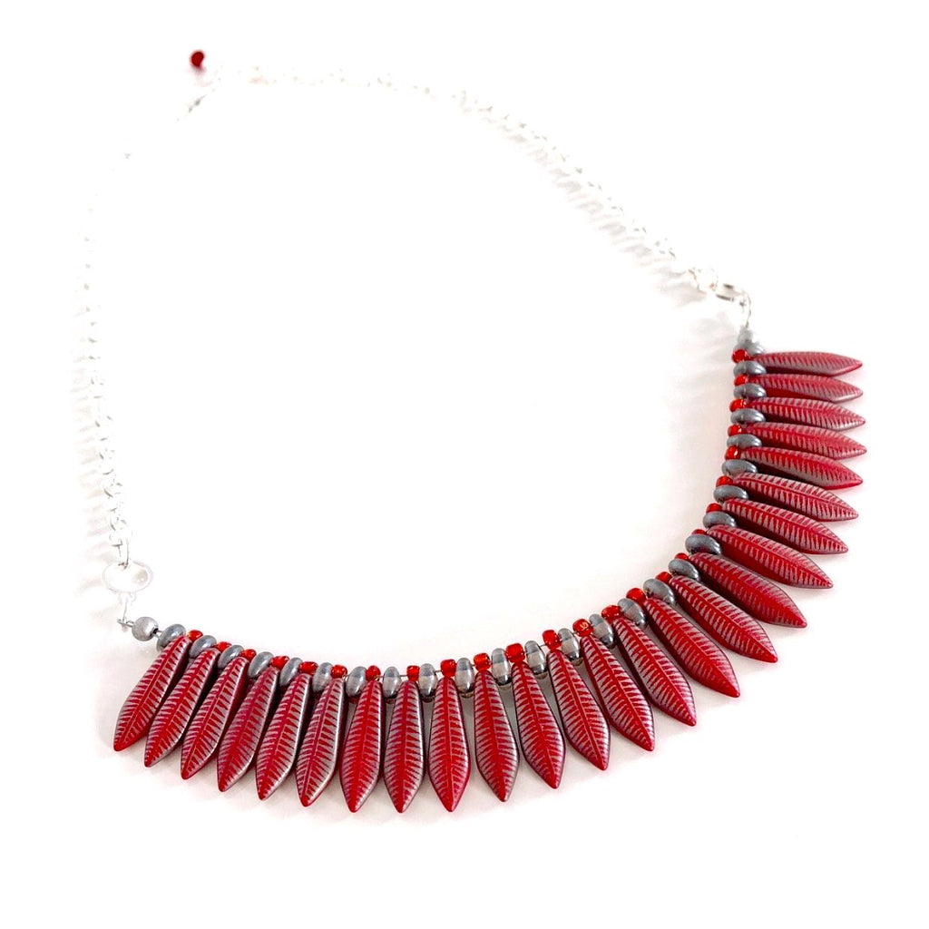 """Fanned Out"" Necklace (Red)"