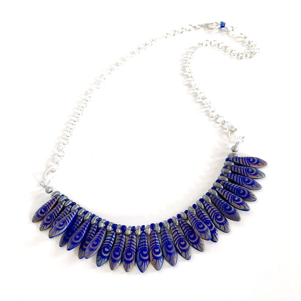 """Fanned Out"" Necklace (Blue)"