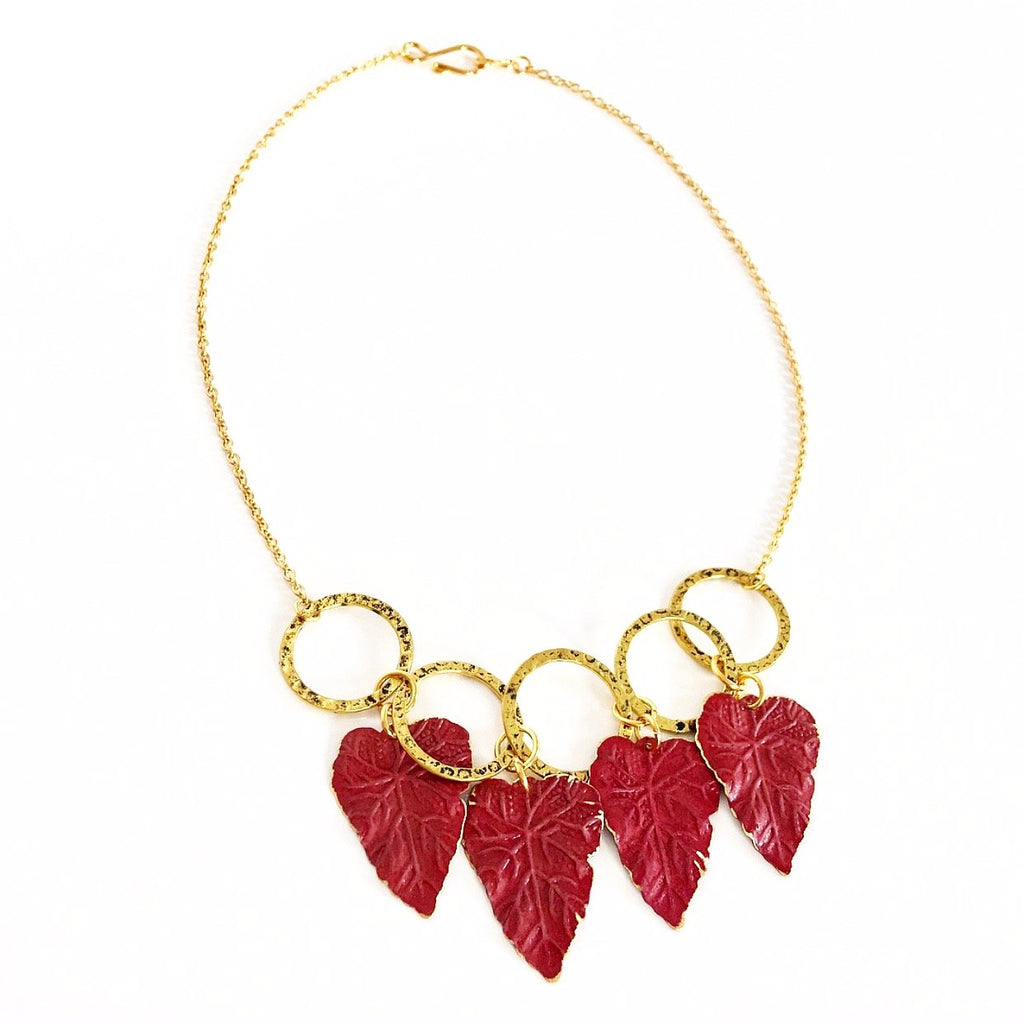 """Patina Leaves"" Necklace"