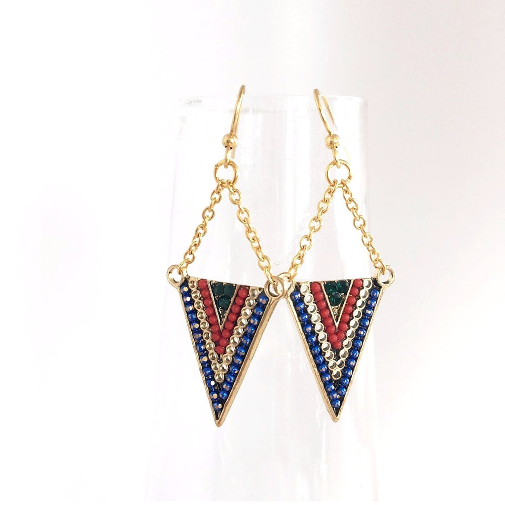 """Aztec Angles"" Earrings (Red/Blue)"