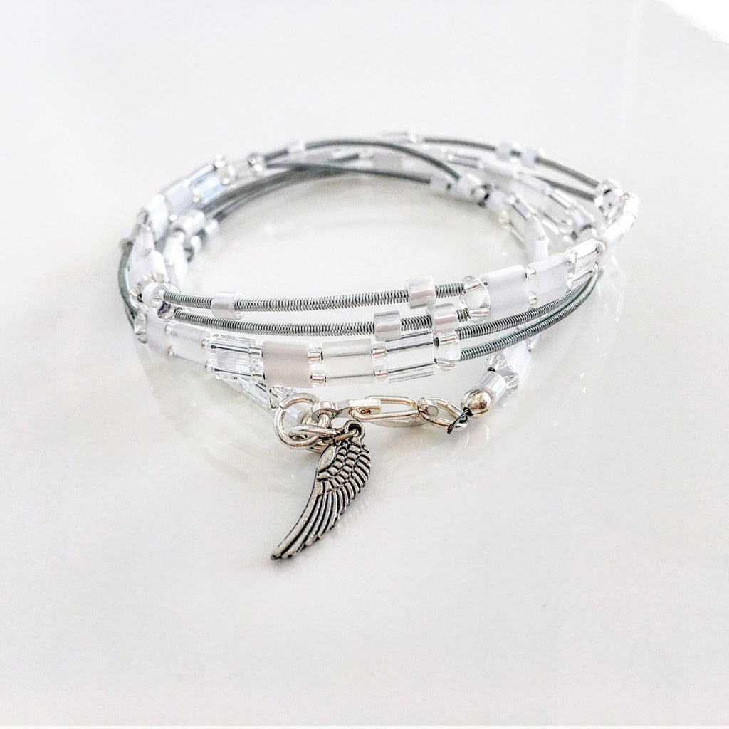 """Glass Tile"" Wrap Bracelet (White)"