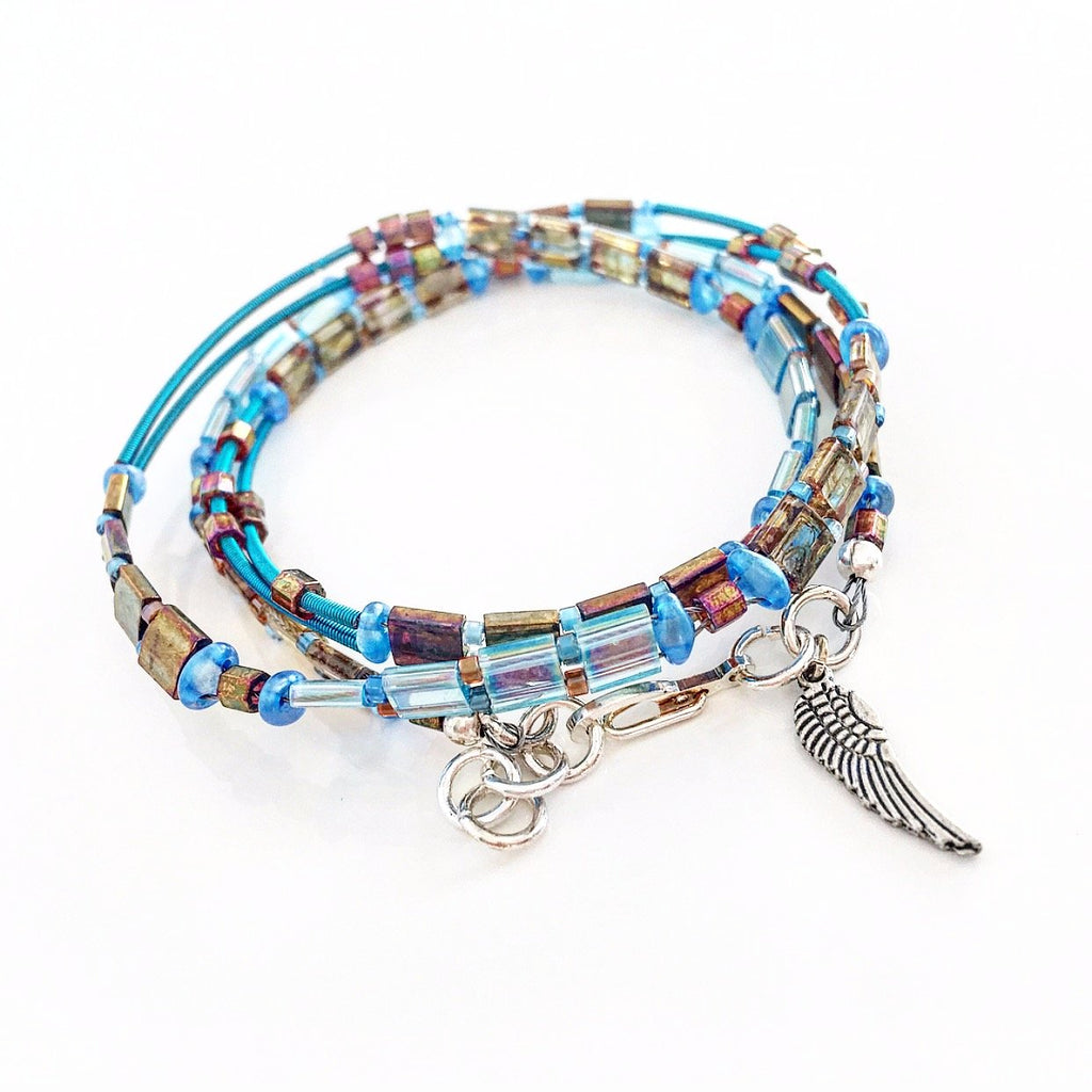"""Glass Tile"" Wrap Bracelet (Light Blue)"