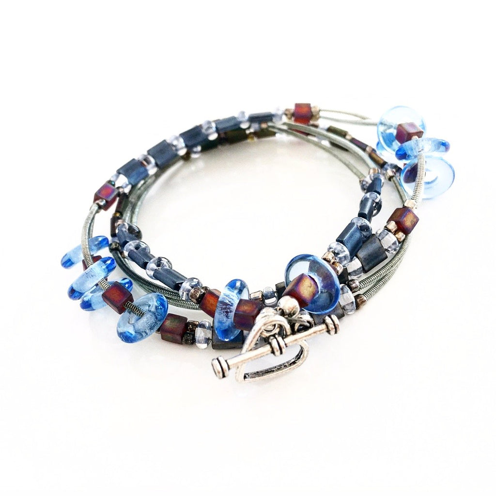 """Glass Tile"" Wrap Bracelet (Denim Blue)"