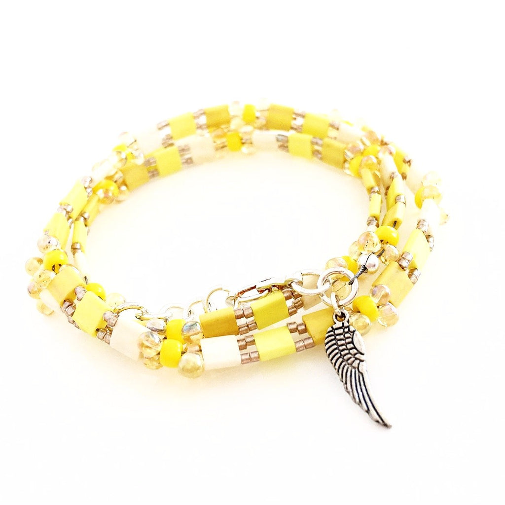 """Glass Tile"" Wrap Bracelet (Yellow)"