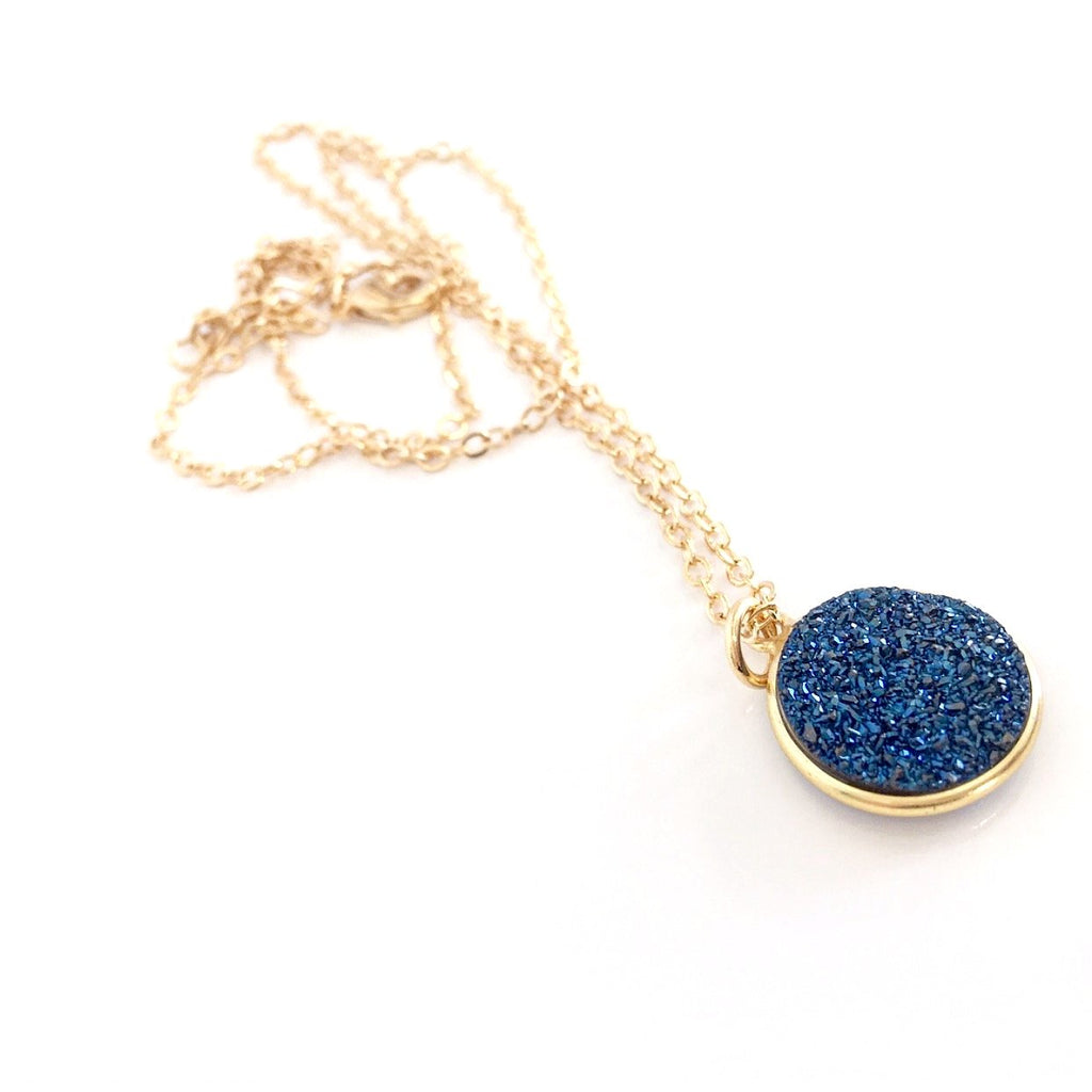 """Druzy Drop"" Pendant Necklaces"