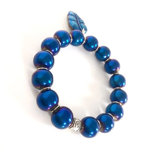 """Leafy Blues"" Stretch Bracelet"