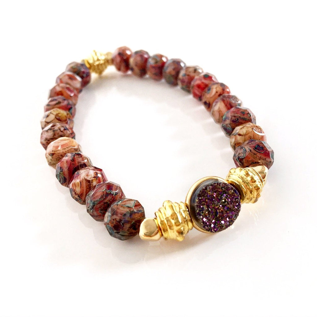 """Druzy Dream"" Bracelet (Rust)"
