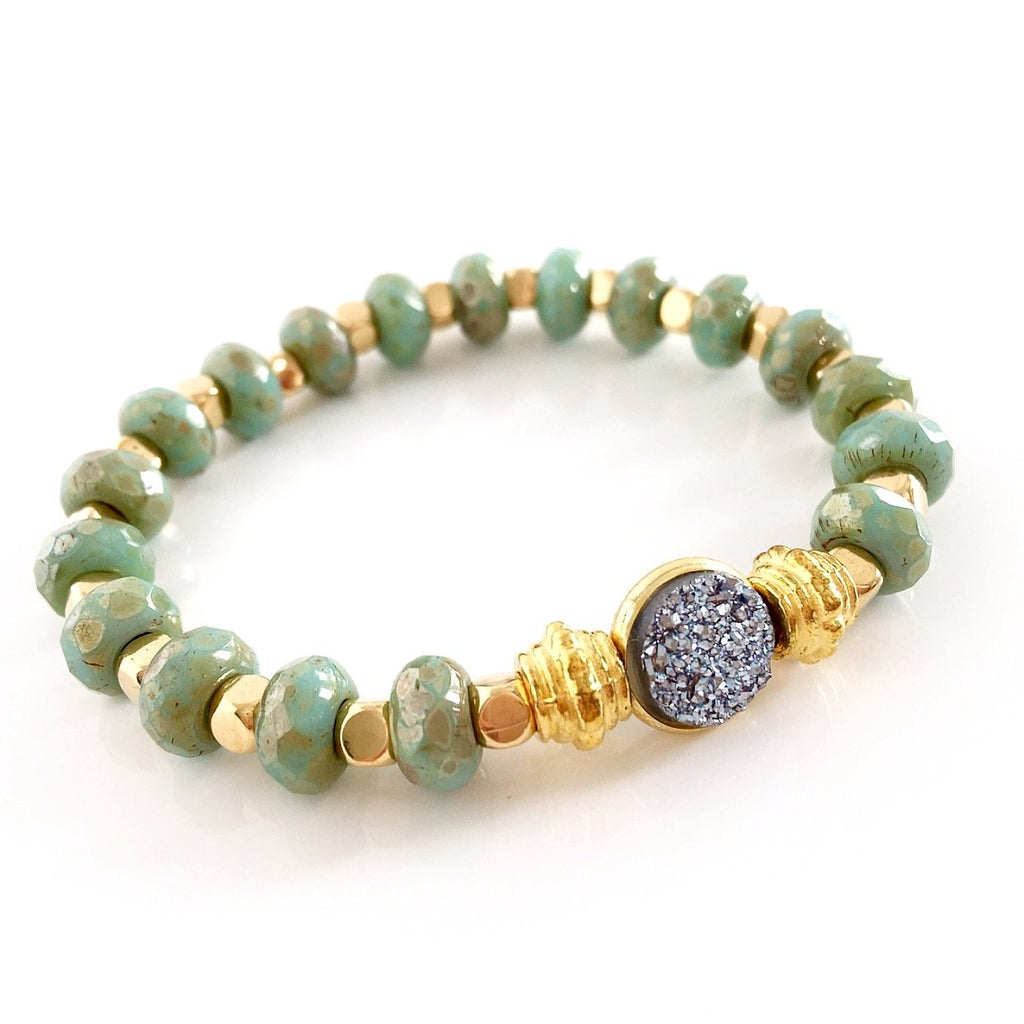"""Druzy Dream"" Bracelet (Green)"