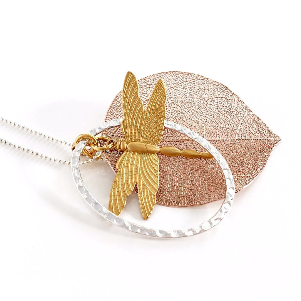 """Shimmer Leaf"" Pendant Necklaces (Dragonfly 1)"