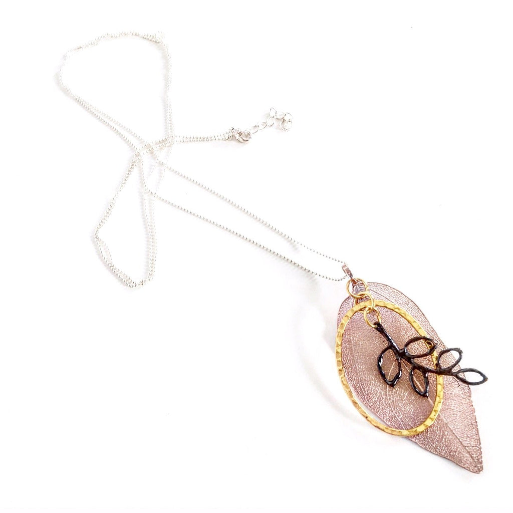 """Shimmer Leaf"" Pendant Necklaces (Dark Branch)"