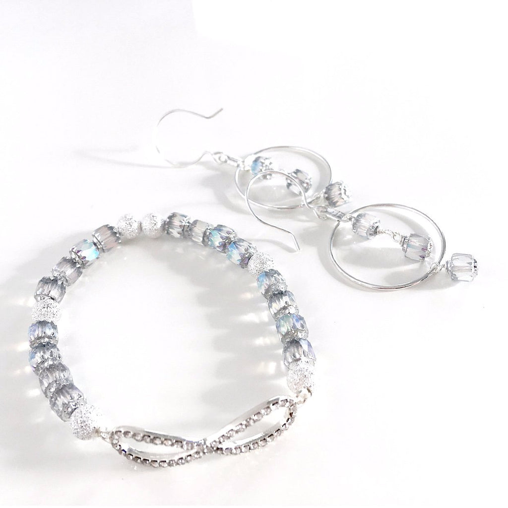 """Icicle Frost"" Earrings and Bracelet Set"