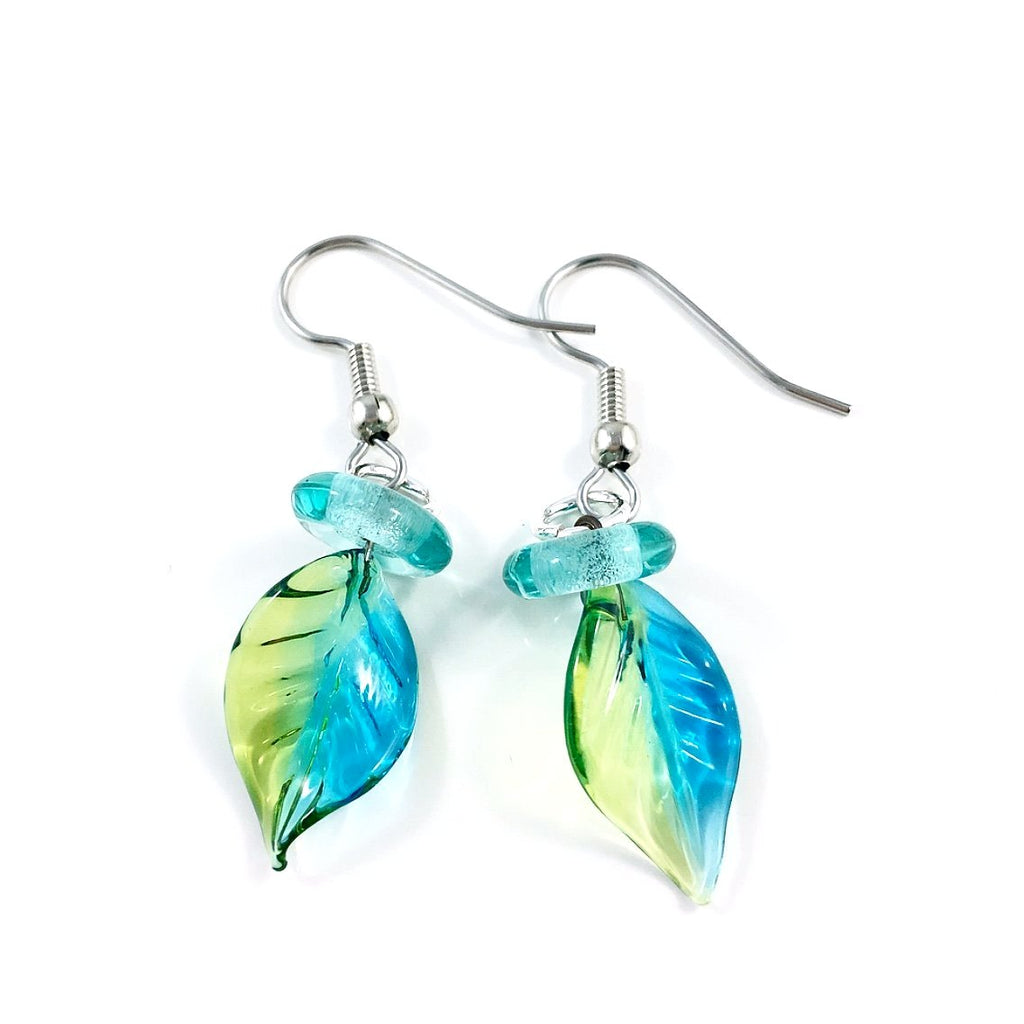 """Twisted Leaf"" Earrings (Aqua/Light Green)"