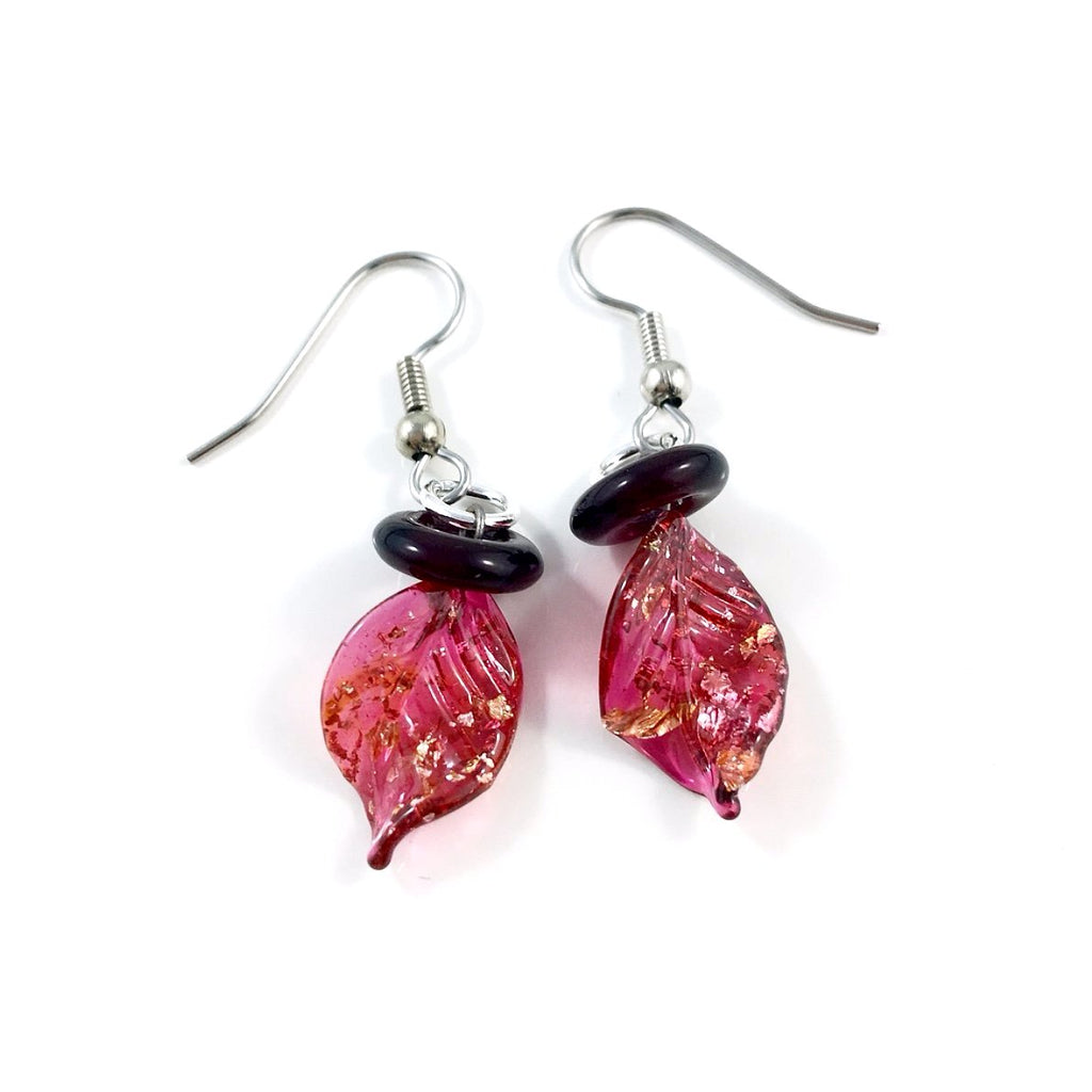 """Twisted Leaf"" Earrings (Dark Pink)"