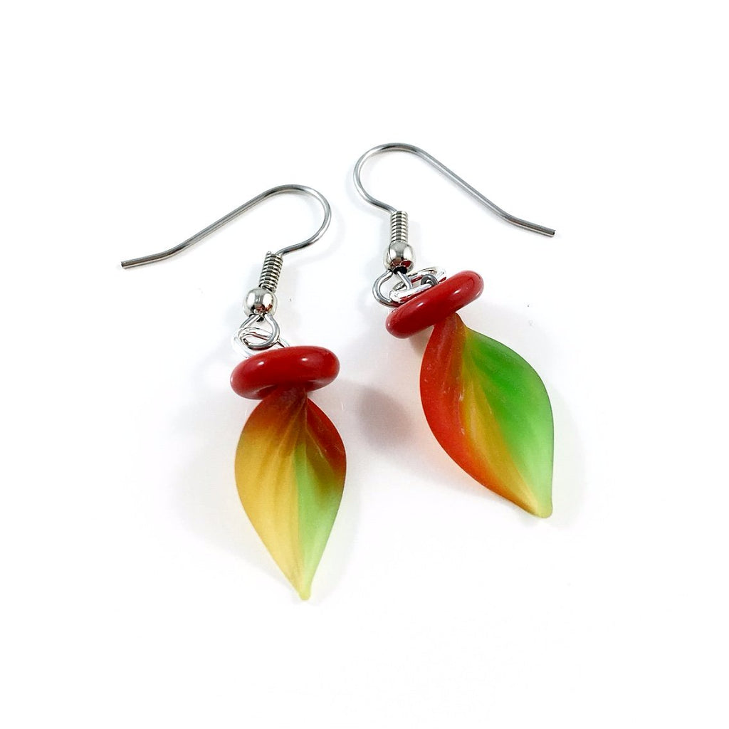 """Twisted Leaf"" Earrings (Autumn/Opaque)"