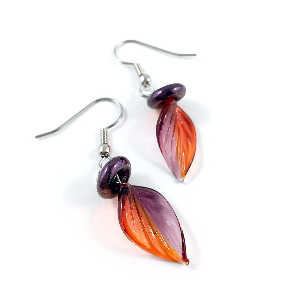 """Twisted Leaf"" Earrings (Red/Purple)"
