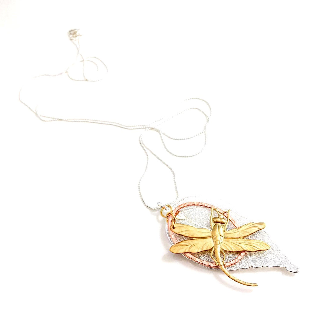 """Shimmer Leaf"" Pendant Necklaces (Dragonfly 2)"