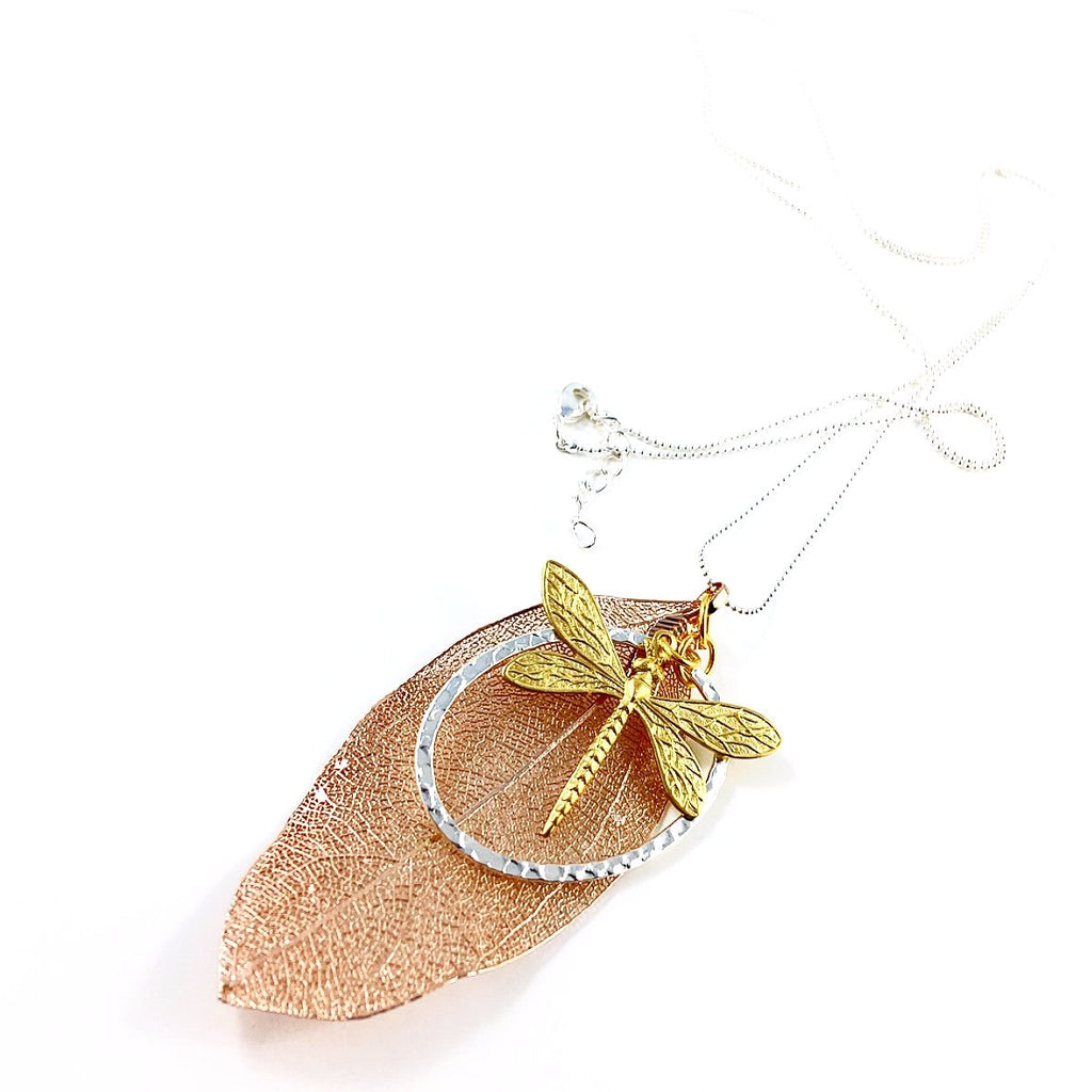 """Shimmer Leaf"" Pendant Necklaces (Dragonfly 3)"