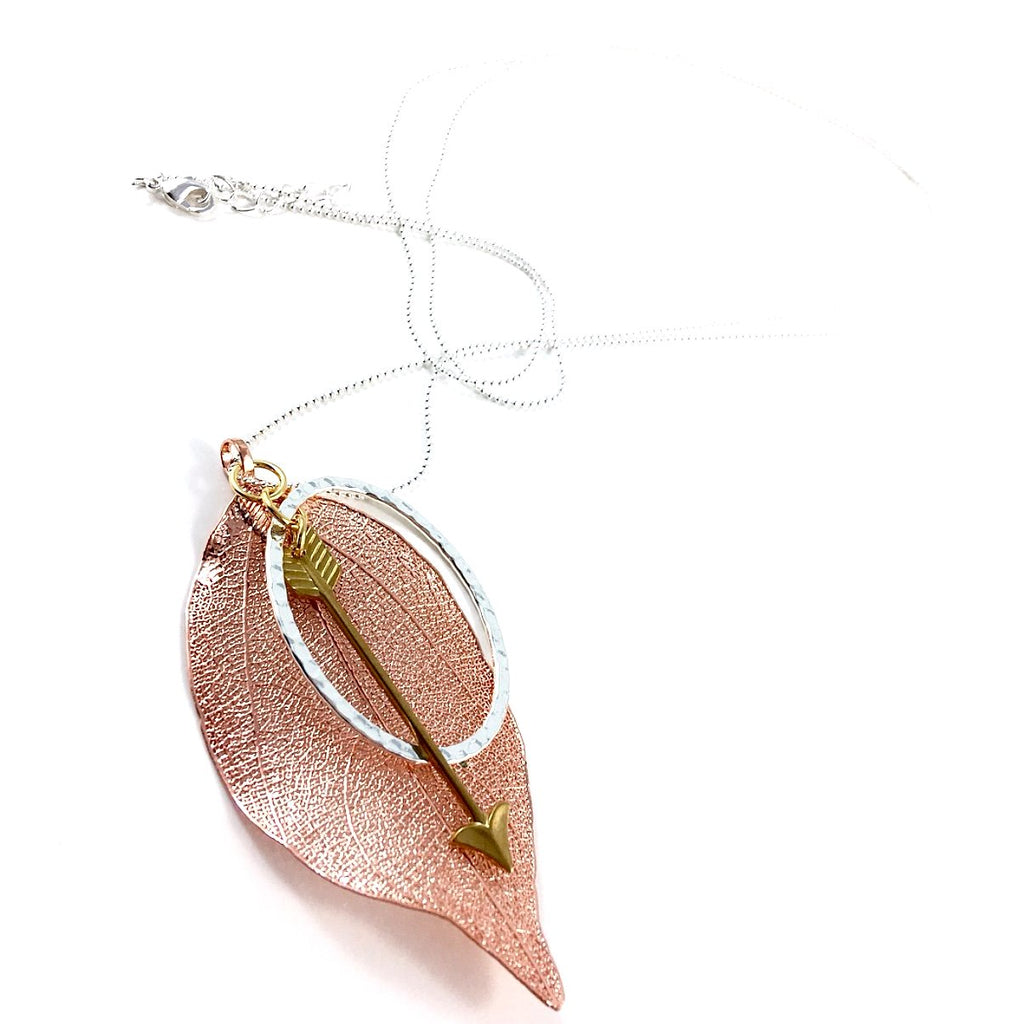 """Shimmer Leaf"" Pendant Necklaces (Arrow 2)"