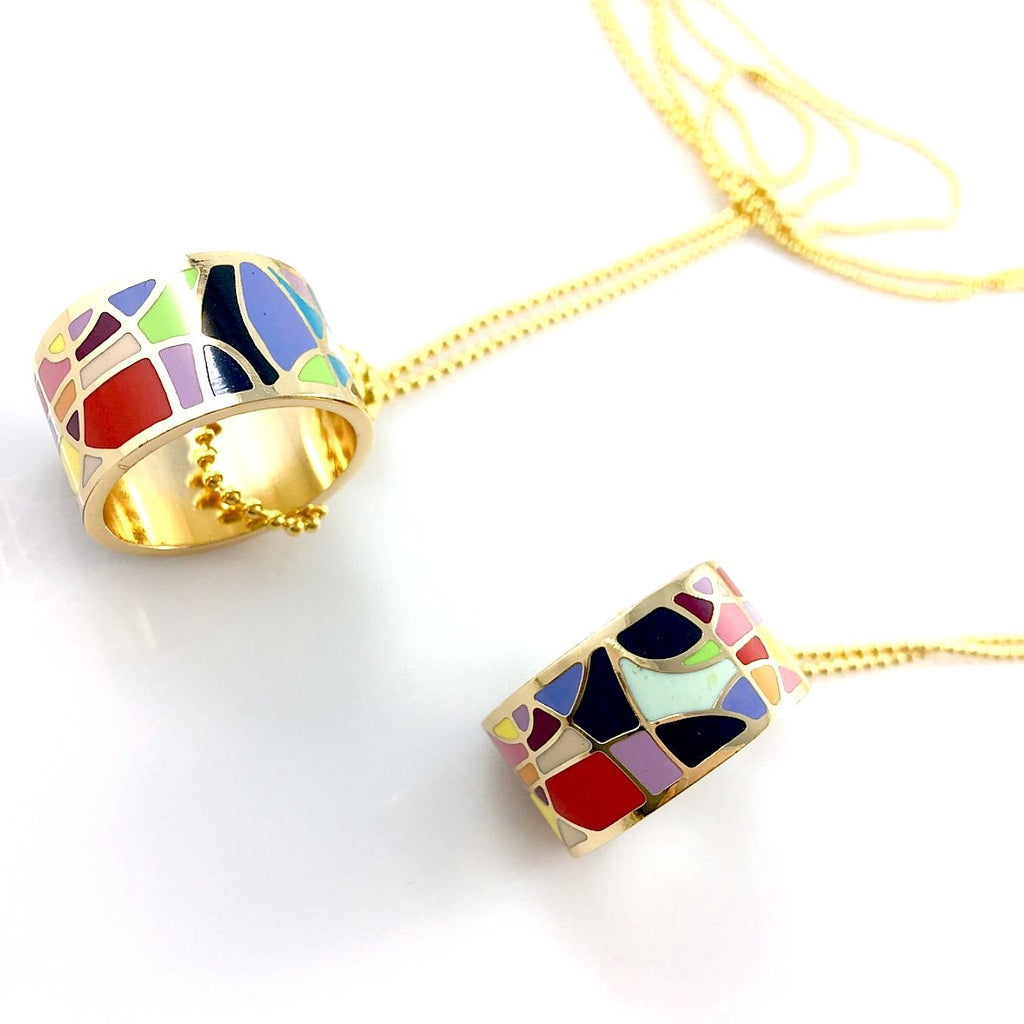 """Mosaic Ring"" Necklace"