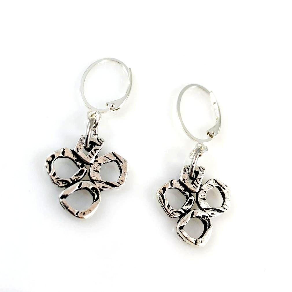 """Linked Together"" Earrings (Antiqued Silver Tone)"