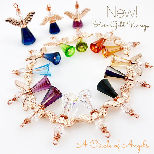 Angel Charms (Rose Gold or Clear Wings)